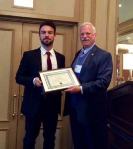 Luca Carozza, winner of the 2016 Gisele Oliveira Award. Presented by Robert T. Sataloff, MD.