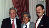 The founder of the Voice Foundation, Wilbur James Gould, M.D.; Minoru Hirano, M.D.; Chairman Robert T. Sataloff, M.D., D.M.A.