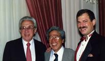 The founder of the Voice Foundation, Wilbur James Gould, M.D.; Minoru Hirano, M.D.; Chairman Robert T. Sataloff, M.D., D.M.A.